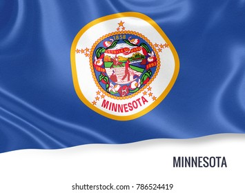 U.S. state Minnesota flag waving on an isolated white background. State name included below the artwork.