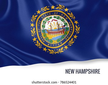 U.S. state New Hampshire flag waving on an isolated white background. State name included below the artwork.