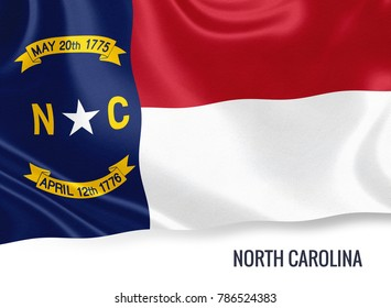 U.S. state North Carolina flag waving on an isolated white background. State name included below the artwork.