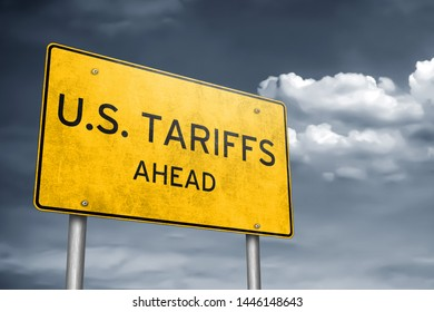 US Tariffs ahead - traffic sign information as 3D-Illustration