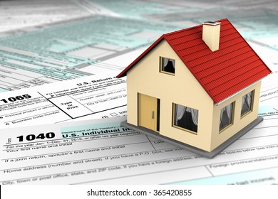 US tax forms and a miniature house symbolizing the savings or costs of owning real estate