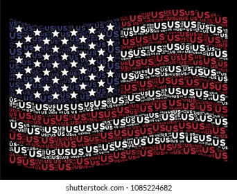 US text items are organized into waving American flag abstraction on a dark background. Raster composition of USA state flag is constructed of US text items.