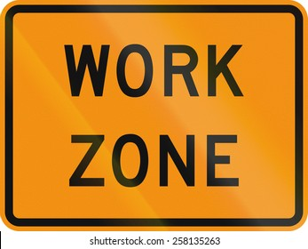 US traffic warning sign: Work zone.