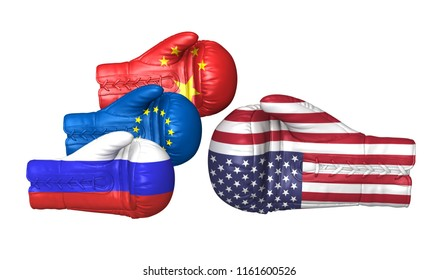 us usa tariffs sanctions trade war china russia eu europe 3d boxing gloves flags duty tax import entrance restrictions armament military nuclear weapons problems global leadership fight isolated