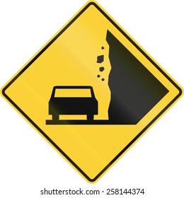 US warning traffic sign: Falling Rocks.