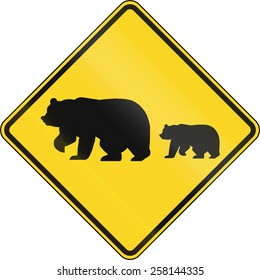 US warning traffic sign: Migrating bears.