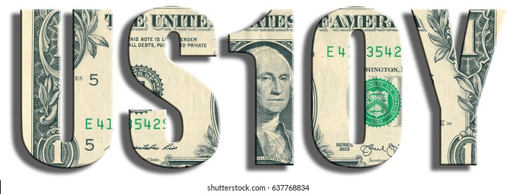 US10Y - in financial markets symbol for 10 year american treasury papers. US Dollar texture.