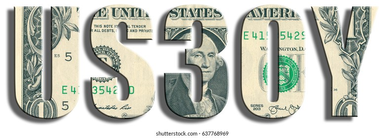 US30Y - in financial markets symbol for 30 years american treasury papers. US Dollar texture.