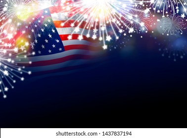 USA 4th of july independence day design of american flag with fireworks