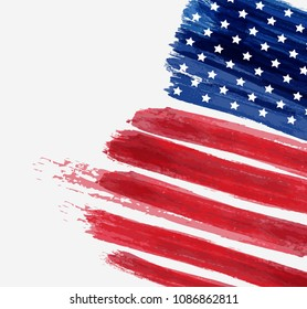 USA abstract flag brushed background. Abstract grunge brushed flag with text. Template for holiday banner, greeting card, invitation, poster, flyer, etc.