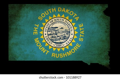 USA American South Dakota state map outline with grunge effect flag insert