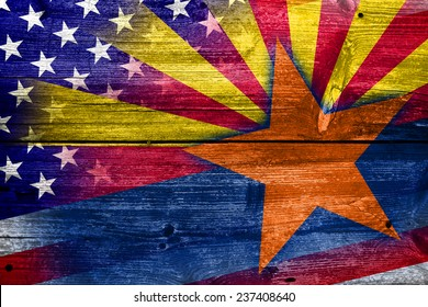 USA and Arizona State Flag painted on old wood plank texture