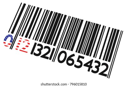 USA barcode on a white background