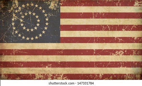 USA Betsy Ross Flag Flat Aged. Illustration of an rusty, grunge, aged American civil war Union (North) flag.