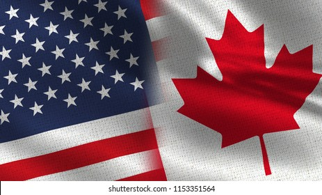 Usa and Canada Realistic Half Flags Together