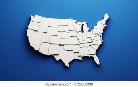 USA carved map by states showing different levels. 3D Rendering illustration