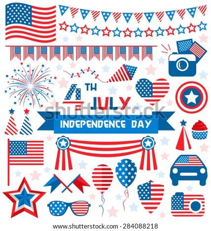 Usa Celebration Flat National Symbols Set Stock Illustration