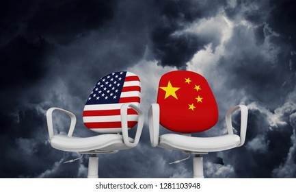 USA and China business chairs. International relationship concept. 3D Rendering