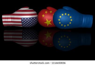 usa china eu tariffs trade war duty us united states european union euro zone 3d illustration boxing gloves fighting sign isolated on black background