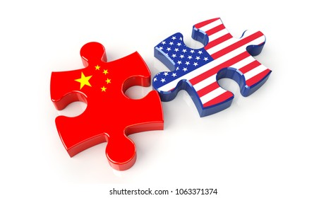 USA and China flags on puzzle pieces. Political relationship concept. 3D rendering