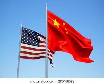 USA and China flags waving in the wind. 3d illustration