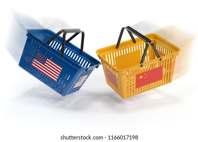 USA China  market conflict.  Economic trade war concept.Two opposing shopping baskets with USA and China flags., 3d illustration