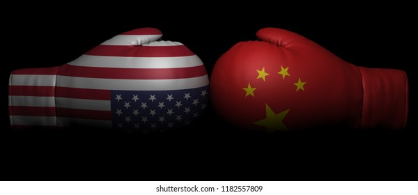 usa china tariff trade war currency conflict sanctions crisis us america 3d boxing glove fight isolated on white