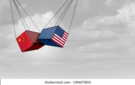 USA China trade war and American tariffs as two opposing cargo freight containers in conflict as an economic dispute over import and exports concept as a 3D illustration.