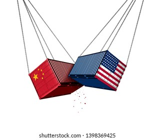 USA and China trade war and American tariffs as two opposing cargo freight containers in conflict as an economic dispute over import and exports concept as a 3D illustration isolated on white.
