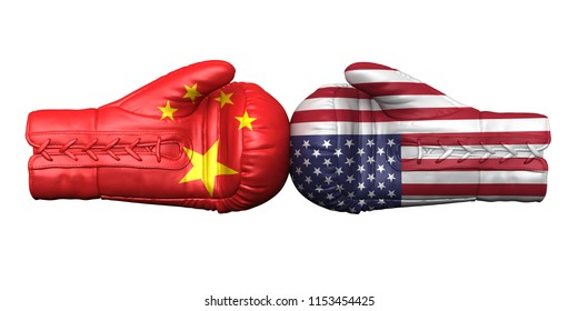 usa china trade war tariff america conflict sanction penalties tax duty levy crisis armament primacy confrontation 3d illustration boxing gloves flags fighting isolated on white background