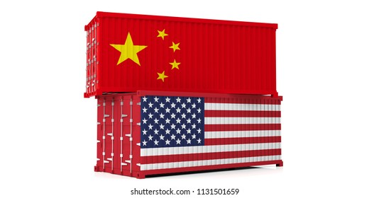 USA and China trade war. US of America and chinese flags cargo containers isolated on white background. 3d illustration