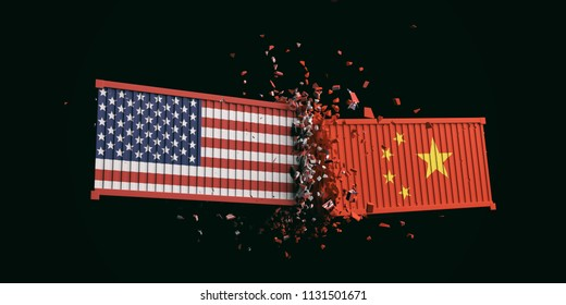 USA and China trade war. US of America and chinese flags crashed containers on black background. 3d illustration