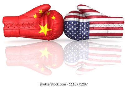 usa china us punitive duty tariff trade war entrance import tax crisis nuclear weapons armament upgrade buildup arms 3d illustration boxing gloves flags isolated