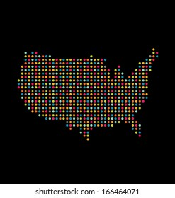 USA colorful dot map. Vector icon