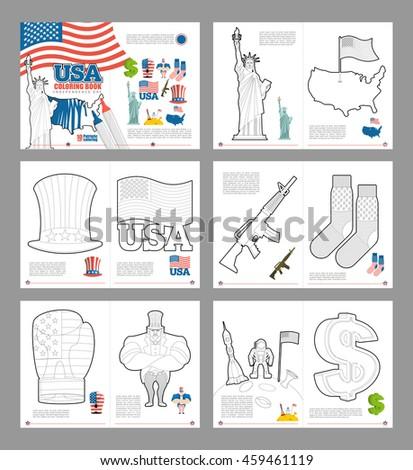 Usa Coloring Book National Symbols America Stock Illustration
