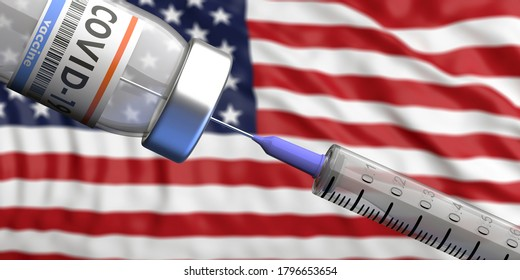 USA Coronavirus vaccine. Covid-19 vaccination, flu prevention, immunization concept. Vial dose and medical syringe, US of America flag background. 3d illustration