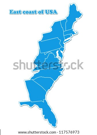 USA East Coast Map Stockillustration 117576973 – Shutterstock