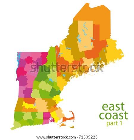 Usa East Coast Map Stockillustration 71505223 – Shutterstock
