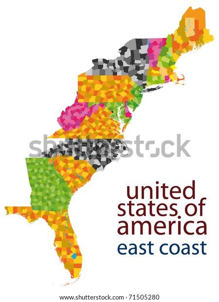 Usa East Coast Map Stockillustration 71505280