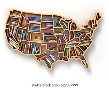 3fa2fa18d2a6 USA education or market of books concept. Book shelf as map of USA. 3d