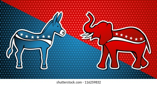 USA elections Democratic vs Republican party in sketch style over stars background.