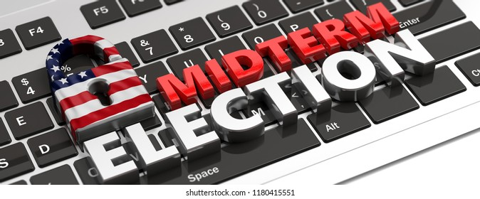USA electronic vote concept. American flag padlock and midterm elections on computer keyboard, banner, 3d illustration.