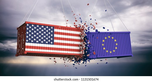 USA and EU trade. US of America and European Union flags crashed containers on blue cloudy sky background. 3d illustration