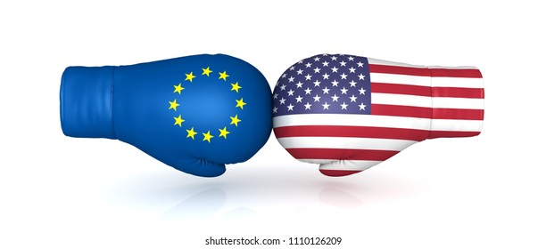 usa eu trade war tariff duty import tax crisis conflict 3d rendering boxing gloves flags us european union eurozone confrontation problems isolated on white background