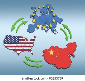 USA, Europe and China Interaction. Illustration of their interdependence.