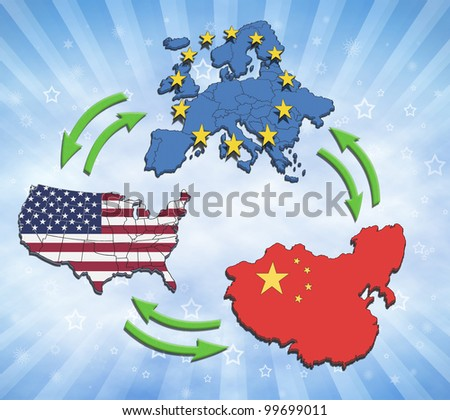 USA, Europe and China Interaction and trading.