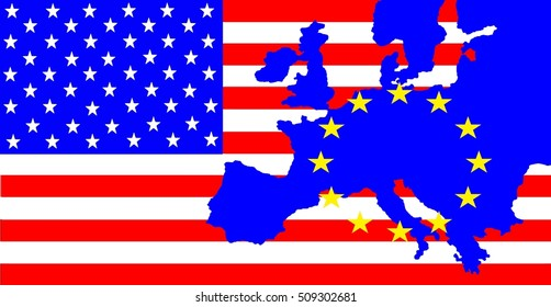 USA and Europe - On the US flag is the map of Europe with the stars circle