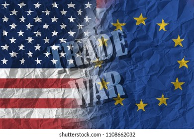 USA and Europe - trade war text on flags background