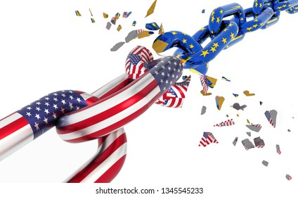 usa european union flags chain broken shuttered brexit - 3d rendering