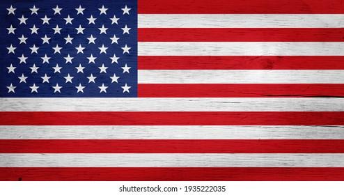 USA flag background on wood